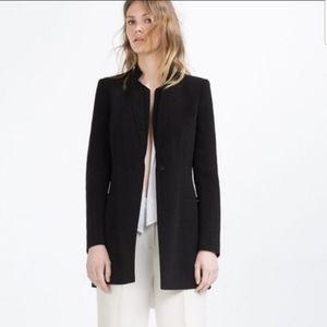 Zara Basic Black Long Blazer Size Medium